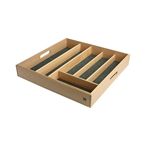 Drawer Size Cutlery Tray In FSC Beech With Green Lining by T&G Woodware