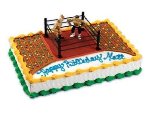 CakeDrake WRESTLING Wrestlers WWE 2 Figures Cage Birthday Cake Decorating Topper Kit Set Birthday Cake Kit Set