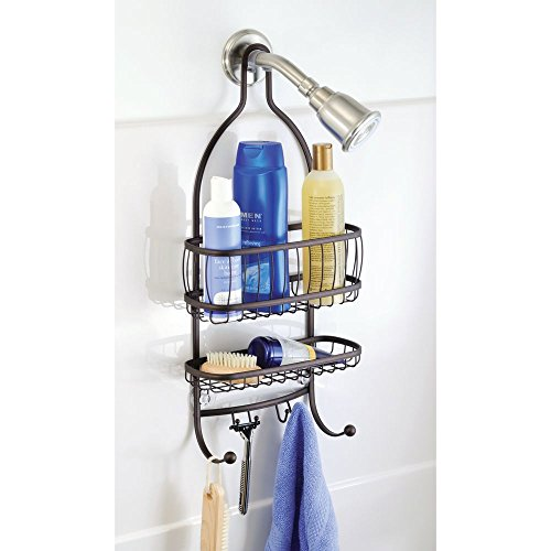 iDesign York Metal Wire Hanging Shower Caddy, Extra Wide Space for Shampoo, Conditioner, and Soap with Hooks for Razors, Towels, and More, 10 x 4 x 22, Bronze