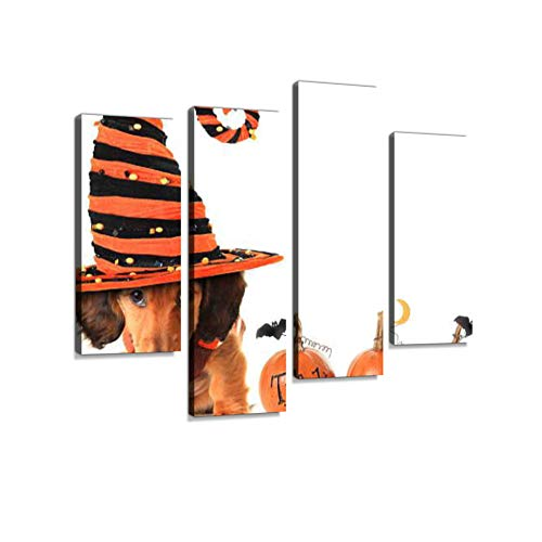 Halloween Puppy Canvas Wall Art Hanging Paintings Modern Artwork Abstract Picture Prints Home Decoration Gift Unique Designed Framed 4 -