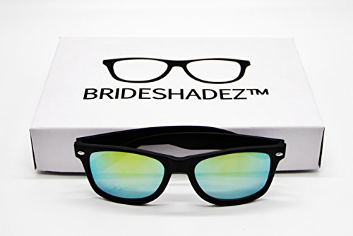 Bridal Party Sunglasses (Set of 6 with golden mirror lens + 32 golden sticker labels) Perfect gift for Bachelor Party and Bachelorette Party | Bridesmaid - Sun Golden Mirror