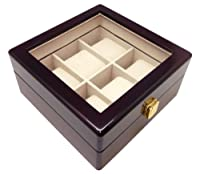 Watch Box Heiden Premier 6pc Watch Box Case - Cherry Wood (Great for Extra Large Watches) by Heiden
