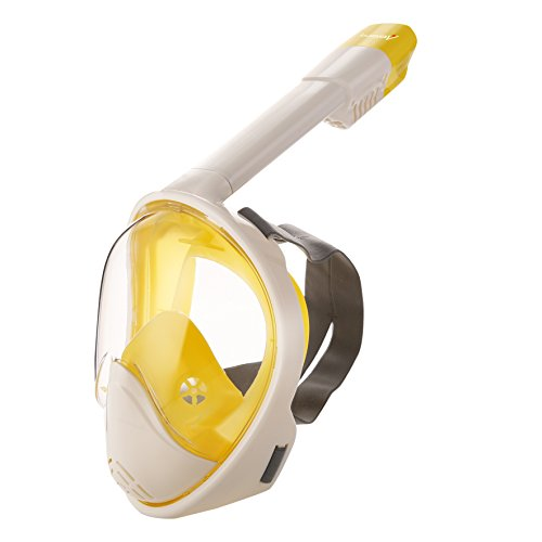 RGA 180°view Panoramic full face Snorkel Mask,with anti-fog anti-leak snorkeling Cool Design,See More water world Larger Viewing Area.Easy Breathing Diving Mask,GoPro Compatible (Yellow/White, S/M) (Bandage Face Full)