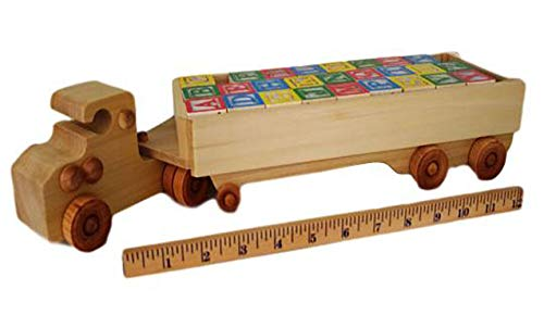 Wooden alphabets truck and trailer, 1 YEAR WARRANTY, in stock, will ship 1-2 days by USPS