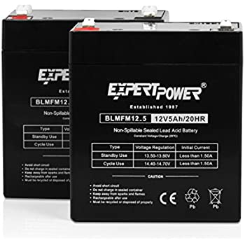 ExpertPower EXP1250-2 12V 5Ah Home Alarm Battery with F1 Terminals, 2 Pack