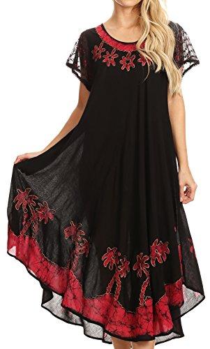 Sakkas A009 Batik Palm Tree Cap Sleeve Caftan Dress/Cover Up - Black/Red - OS