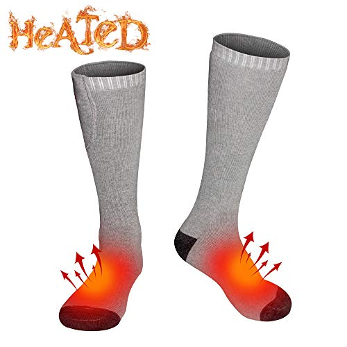 Autocastle Electric Heated Socks Thermal Insulated Sock Battery Powered Heating Sox,Winter Rechargeable Heat Socks Kit for Chronically Cold Feet,Climbing Hiking Foot Warmer (Grey, One Size)