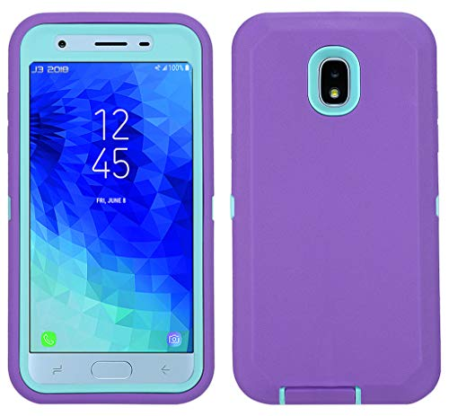 Annymall Galaxy J7 2018 Case, Heavy Duty Shockproof Defender Armor Protective Cover with Built-in Screen Protector for Samsung J7 2018/ Galaxy J7 Aero/ J7 Refine/ J7 Star/ J7 Crown(2018) (Purple/mint) -