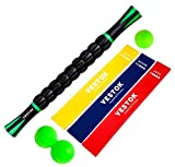 VESTOK Muscle Roller Resistance Bands Kit - Massage Roller Set | Massage Stick, Peanut Ball, Massage Ball + 3 Fitness Bands | Therapy Set for The Perfect Stretch, Instant Recovery and Best Exercises