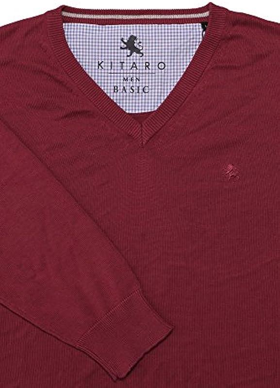 Sweter męski kitaro dekoltem w szpic Dark Red 161347/487 - l czerwony: Odzież