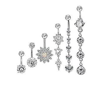 Sun Flower 6Pcs Stainless Steel Belly Button Rings Barbell Navel Rings Bar for Women CZ Flower Body Piercing