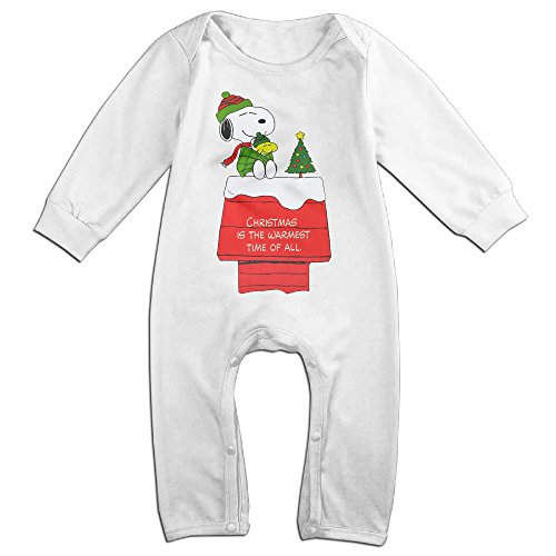 Cotton Baby Long Sleeve Onesies Toddler Bodysuit White Christmas Snoopy (Jonbenet Ramsey Halloween)