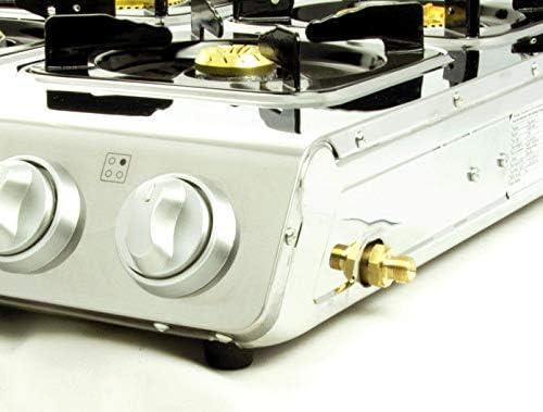 Acero inoxidable de calidad Hornillo de gas 4 focos con tapa 12 kW Cocina de gas camping hervidor Wok taburete eléctrica con gas Manguera regulador de ...