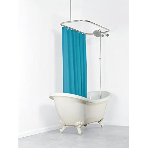 Delicate Zenna Home 34941SS NeverRust Aluminum Hoop Shower Curtain Rod For Claw Foot Tubs