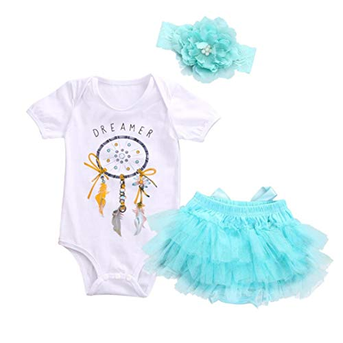 (New Baby Playsuit Clothes Set, 3pcs Newborn Infant Baby Girl Dream Catcher Romper Tops+Tutu+Headband Set 3M)