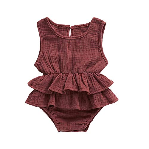 Muasaaluxi Newborn Infant Baby Girls Sleeveless Romper Cotton Ruffled Bodysuit Jumpsuit Jumpsuit Sunsuit Summer Outfit 0-24M (18-24M, Brick Red)