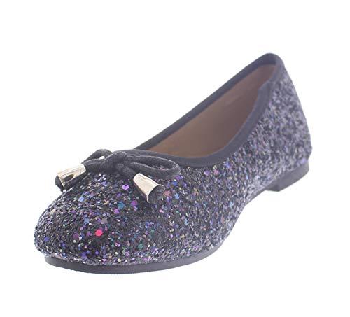 Glamour Ballet Flats - Girls Glitter Ballet Flats for Kids,Sparkle Flat Shoes,Girl Sparkly Dress Flats Black Multi Little Kid Size 2 US