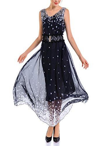 Womens Bohemian Dresses Chiffon Dresses Sleeveless Long Dress - 6
