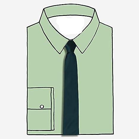 OYWNF Estrecho Azul-Verde Sólido Flecha de Color Corbata Ocasional ...