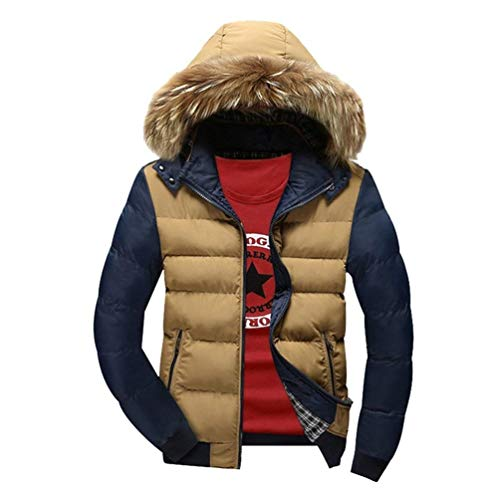 Waterproof Chaude Thicken Coat Detachable Jacket Leisure Down Warm Blau Hood Parka Windproof Padded Faux with Hooded Adelina Coat Fur Quilted Men's Padded qxpPwvw4F