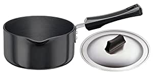 Hawkins Futura Hard Anodised Saucepan With Steel LID, 3.25mm Thick, 1.5 Litres, Black