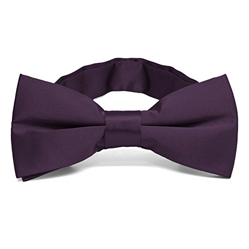 TieMart Eggplant Purple Band Collar Bow Tie