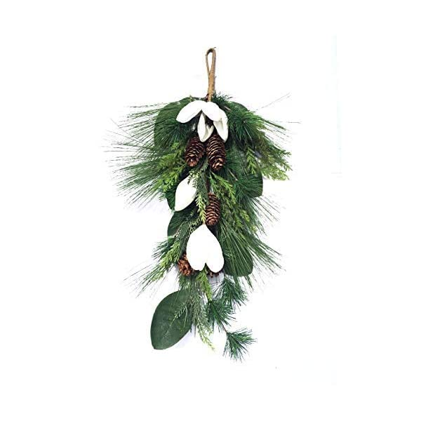 Faux Christmas Magnolia Swag with Magnolia Buds Magnolia Leaves Pine Branches and Pine Cones Holiday Home Decor Should Fit Behind Storm Door 24 Inch Length Winter Front Door Wreath