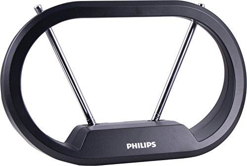 Philips | HD Loop Passive TV Antenna - Sleek Modern Design with Loop and Dipoles – Full 1080p and 4K UltraHD Ready - Indoor VHF/UHF/HDTV Antenna with Rabbit Ears - 30 Mile Range - SDV7114A/27
