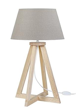 Tosel 65446 lámpara de mesa, 1 luz, madera, E27, 40 W, gris ...
