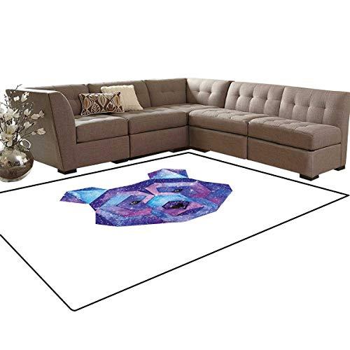 (Bear Bath Mats Carpet Cosmic Polygonal Wildlife Figure Hand Drawn Watercolor Artwork with Galaxy Pattern Girls Rooms Kids Rooms Nursery Decor Mats 5'x8' Blue Magenta)