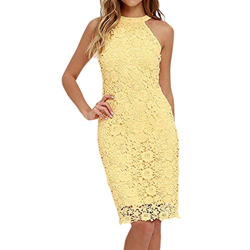 Sue&Joe Women's Sheath Dress Halter Floral Lace Crochet Above Knee Bodycon Dress, Yellow, TagsizeXL=USsizeM