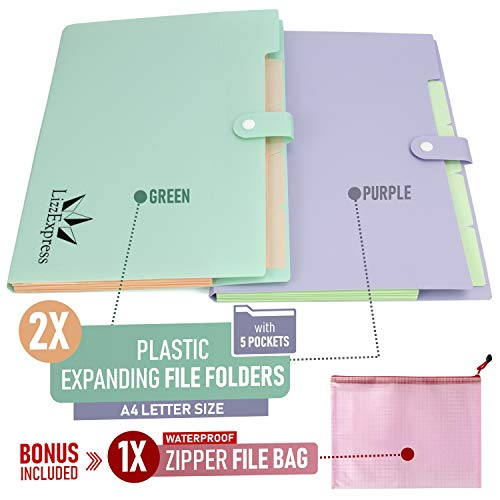 Accordion Folder Expanding File Organizer | File Folders Organizer for Paper with 5 Pockets Plastic File Folders Filing Organizer by Lizz Express Photo #2