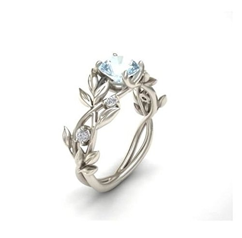 Sterling Silver Floral Ring - Jaywine2 Noble Women 925 Silver Floral Ring Transparent Aquamarine Wedding Jewelry Sz6-10 (6)