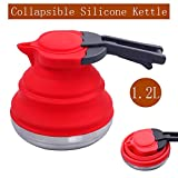 Dltsli 1.2L Red Portable Silicone Collapsible Tea Kettle Outdoor Camping Travel Kettle Foldable Pot