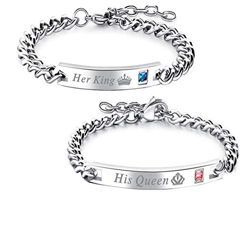 Gift for Lover His Queen Her King Stainless Steel Couple Bracelets for Women Men Jewelry Matching Set (Silver His Queen Her King)