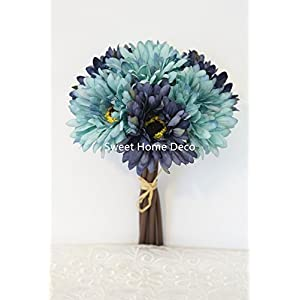 Sweet Home Deco 13'' Silk Artificial Gerbera Daisy Flower Bunch (W/ 7stems, 7 Flower Heads) Home/Wedding 9