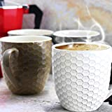 Elama HoneyComb 6 Piece Embossed Stoneware 15 Ounce Coffee and Tea Mug Set in Assorted Colors, Assorted White, Purple, Taupe