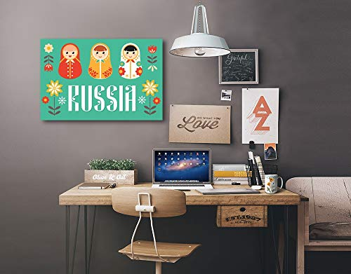 Russia - Nesting Dolls - Vector - Red and Teal (36x24 Gallery Wrapped Stretched Canvas) by Lantern Press (Image #1)