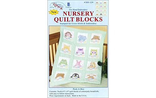 Stamped White Nursery Quilt Block 9quotX9quot 12/pkg PeekABoo