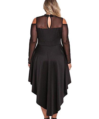 Women Long Bodycon Neck Gloria Size Cold Dress Plus amp;Sarah Mesh Black Sleeve Mock Shoulder For Party q6w6vHU5