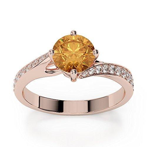 Or Rose 18carats 3/2ct G-H/VS sertie de diamants ronds Cut Citrine et bague de fiançailles Agdr-1207