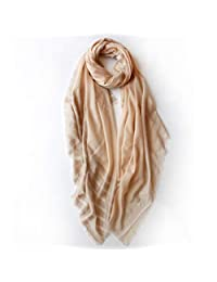 Large Size Silver Silk Stripe Sunscreen Sunshade Shawl Scarf Multi-Function Four Seasons (Color : Khaki)