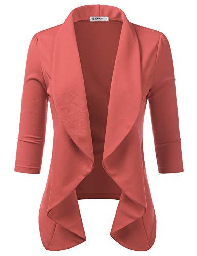 Doublju Womens Lightweight Thin 3/4 Sleeve Open Front Blazer with Plus Size DARKMAUVE 1X