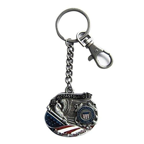 - New Vintage Hero Coast Guard Metal Charm Pendant Key Ring Key Chain