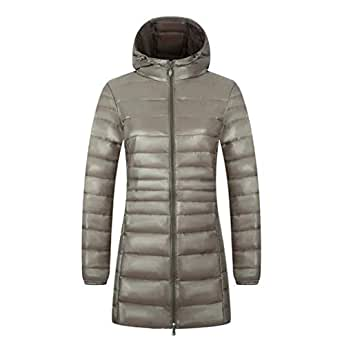 CWSY Women's Hooded Packable Ultra Light Weight Long Down Jacket,ArmyGreen,S