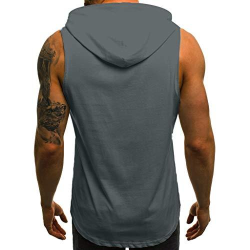 Uomo Grigio Fitness t Bodybuilding Muscolose Canotte Maniche Con Uomo Cappuccio Elecenty Felpe Da shirt Aderenti c43j5ARSLq
