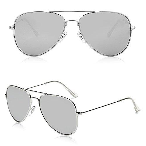 Aviador Lentes Clásico Plateado SJ1054 Polarizadas SOJOS Plateado Y Mujeres Gafas Hombres Sol De Marco Espejo Para Metal qOZ06qP8