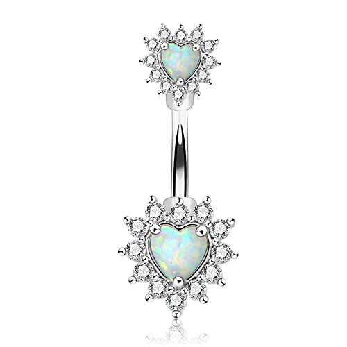 OUFER 14G Double Heart Opal Center CZ filigree Belly Button Rings 316L Surgical Steel Navel Rings Belly Piercing