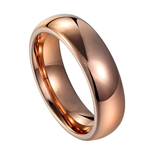 Gold High Polished Domed Ring (Will Queen 4mm Rose Gold Classic Tungsten Wedding Bands Domed High Polished Finish Comfort Fit Design Rings for Women Promise Engagement Rings (7.5))