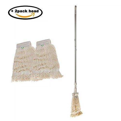 KLHB-YF Wet Mop, 51-inch long Light Aluminum Handle Duty Wet Deck Spin Cotton Mop with 2 Cotton Yarn Mop Pads for Cleaning Hardwood Floor Bathroom Kitchen Tile (Cotton Yarn Mop)